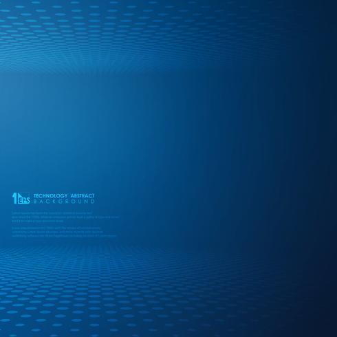 Abstracte futuristische technologie gradatie blauwe stip cirkel patroon achtergrond. vector