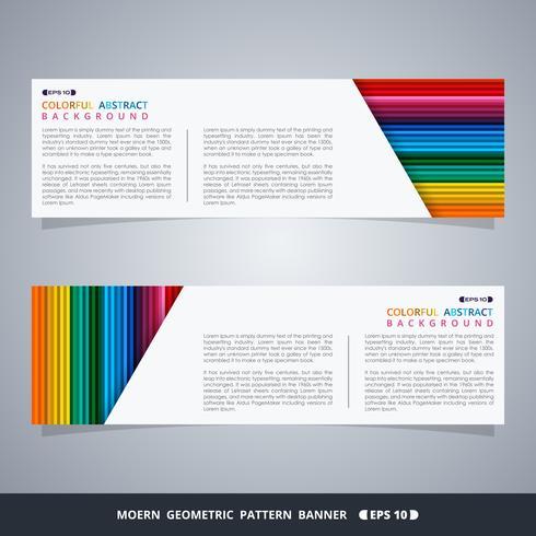 Samenvatting van kleurrijke streep patroon banner desien met witte ruimte voor tekst. vector