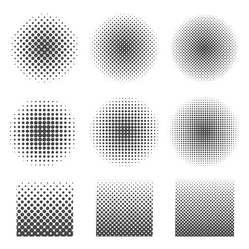 Abstracte halftone reeks cirkels en vierkant. vector