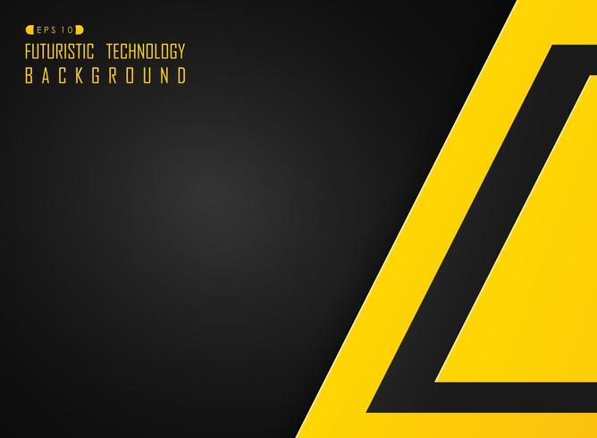 Samenvatting van hallo technologie futuristische technologie zwarte en gele kleurenachtergrond. vector