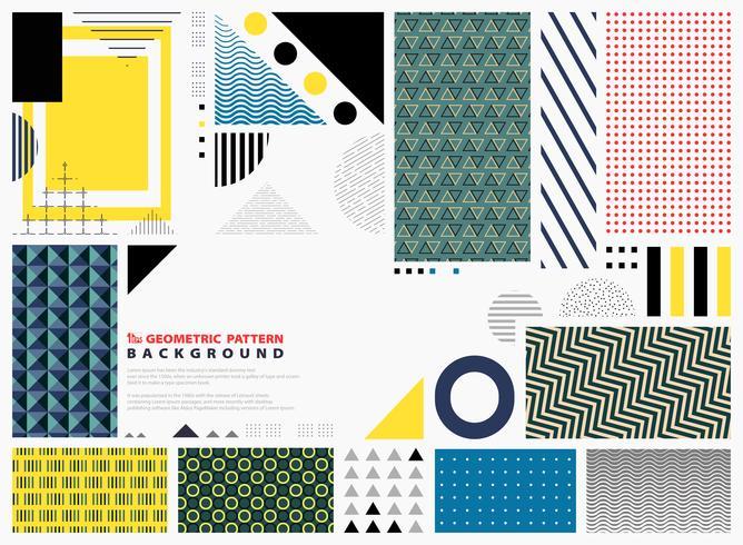 Abstracte geometrische patroon kleurrijke achtergrondexemplaarruimte. Modern ontwerp van vormen die voor presentatie verfraaien. Je kunt gebruiken voor artwork, fashion design van element, papier, print. vector