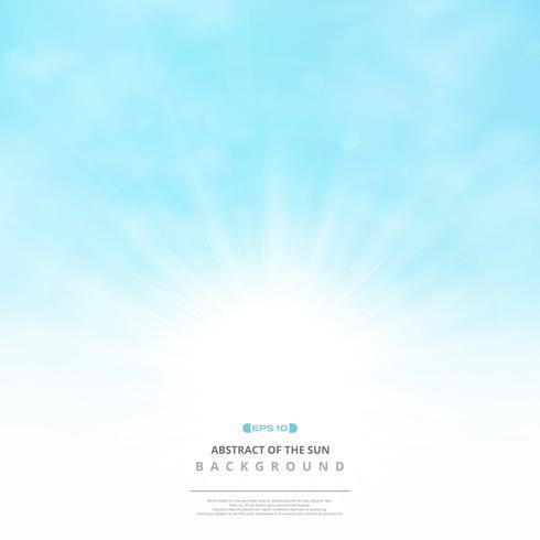 Samenvatting van de zon met wolken op zachte blauwe hemelachtergrond. vector