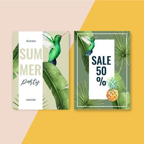 Van het de kaartontwerp van de de zomeruitnodiging de vakantiepartij op de strand overzeese zonneschijn, het creatieve ontwerp van de waterverf vectorillustratie vector