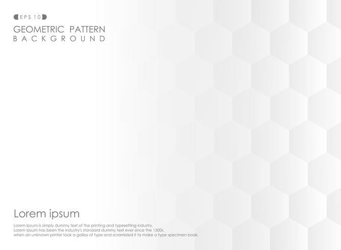 Samenvatting van de gradiënt witte achtergrond van het pentagon geometrische patroon. vector