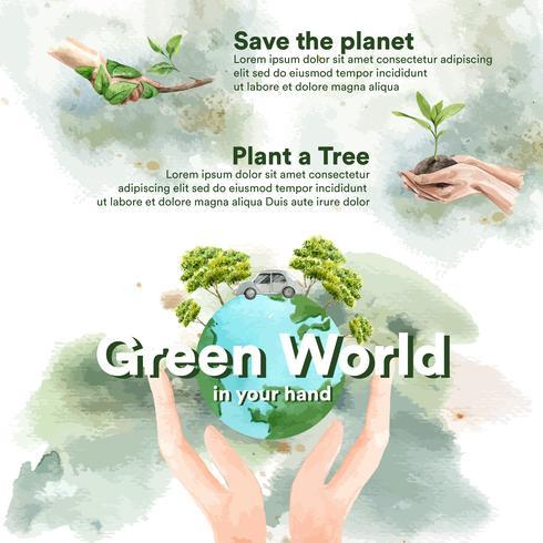 Opwarming van de aarde en vervuiling, de wereld redden, Infographic data statistiek aanwezig, creatieve aquarel vector illustratie sjabloonontwerp