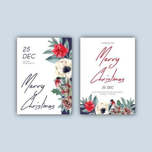 De uitnodigingskaart van het de winter bloemen bloeiende elegante huwelijk voor ontwerp van de decoratie het waterverf mooie, creatieve waterverf vectorillustratie vector