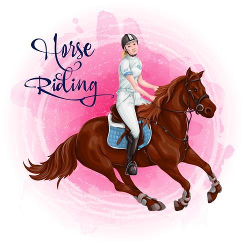 Vrouw Paardrijden. Paardensport. vector