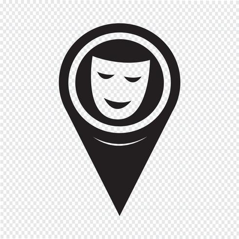 Kaart aanwijzer Theatrale maskers pictogram vector
