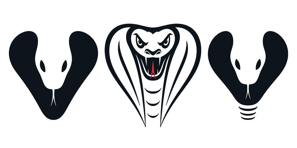 Cobra hoofd pictogrammen vector