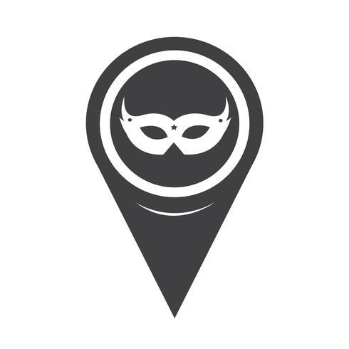 Kaart aanwijzer carnaval masker pictogram vector
