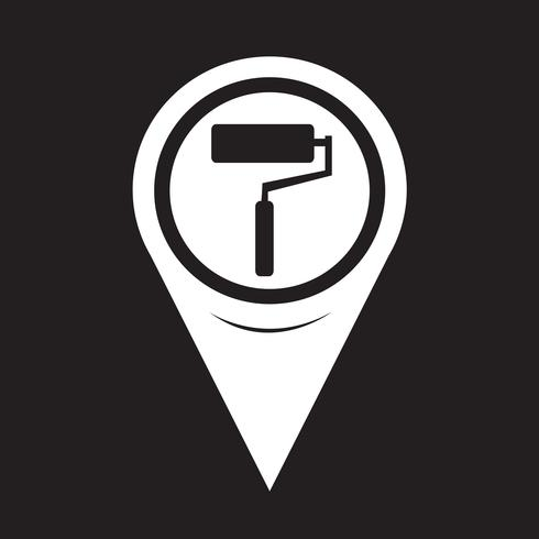 Kaart aanwijzer verfroller pictogram vector