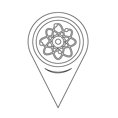 Kaart aanwijzer Atom Icon vector