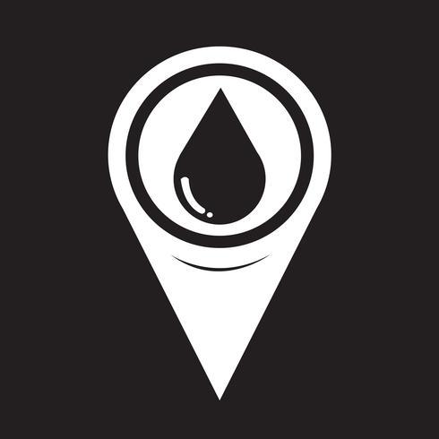 Kaartaanwijzer Waterdruppel pictogram vector