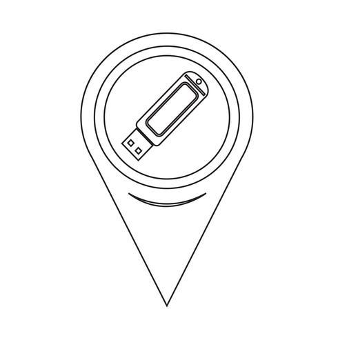 Kaartaanwijzer USB-flashdrivepictogram vector