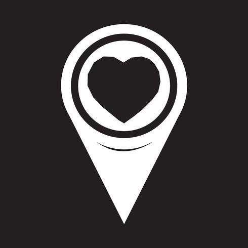 Kaart aanwijzer hart pictogram vector