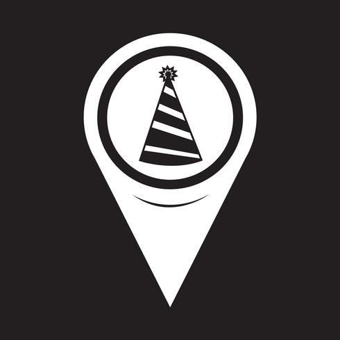 Kaart aanwijzer feest hoed pictogram vector