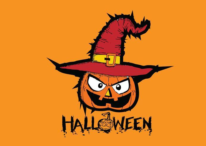 Halloween-kaart met pompoen vector