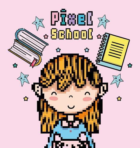Pixel schoolkunst vector