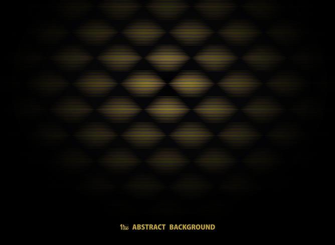 Het abstracte gouden ontwerp van het art decopatroon op zwarte achtergrond. illustratie vector eps10