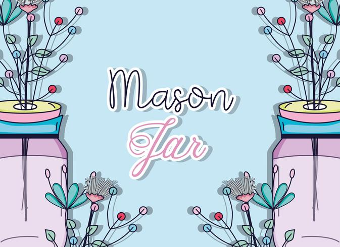 Mason-pot met bloemen vector