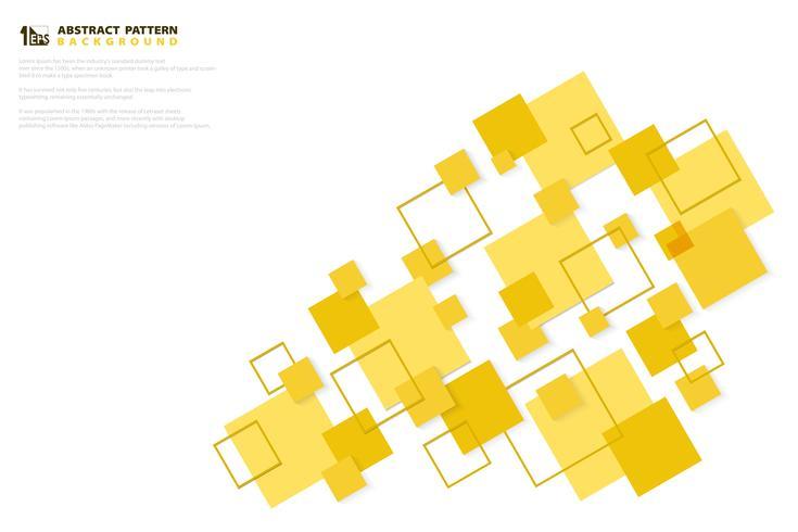 Het abstracte minimale gele document van de kleuren vierkante technologie sneed het ontwerpachtergrond van het patroon. illustratie vector eps10