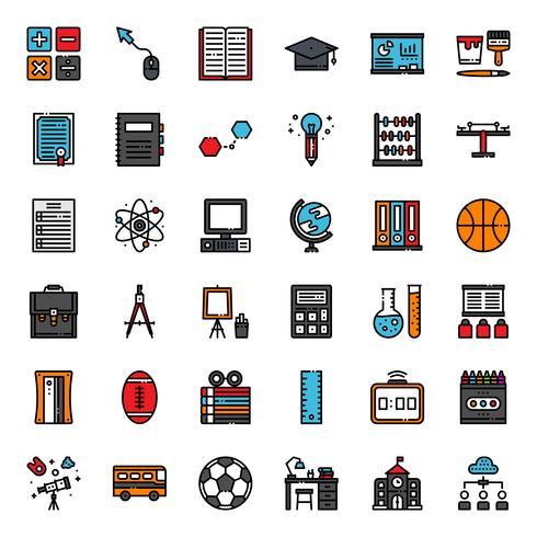 Onderwijs vullen overzicht pictogram vector