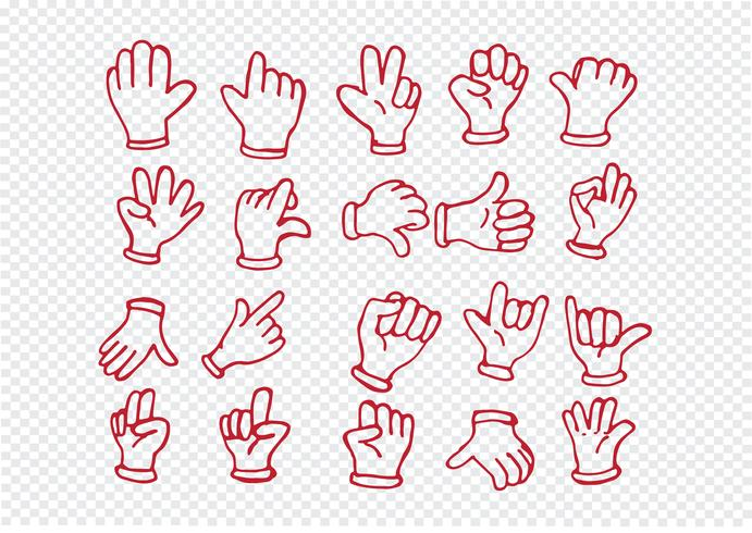 Gloved beeldverhaalhand, illustratie van diverse handen vector