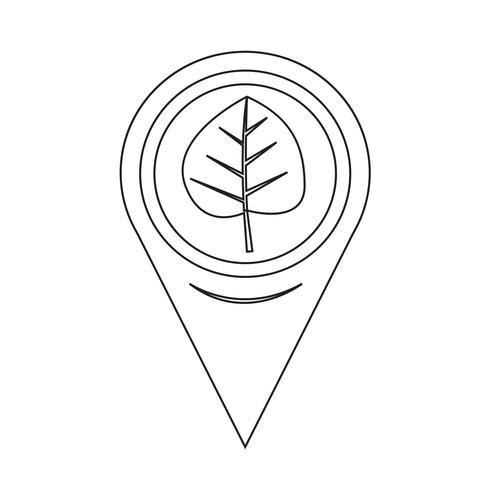 Kaart aanwijzer blad pictogram vector