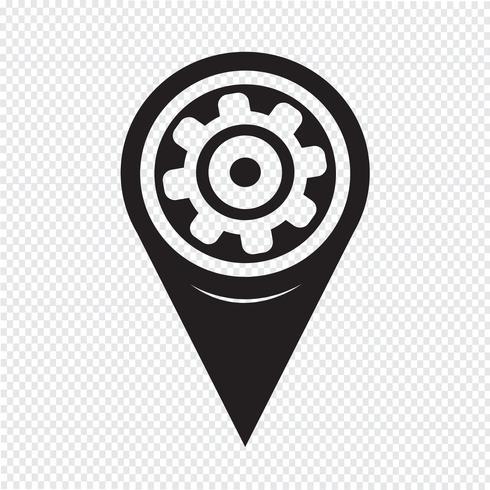 Kaartaanwijzer Gear-pictogram vector