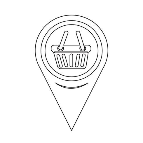 Kaart aanwijzer winkelmandje pictogram vector