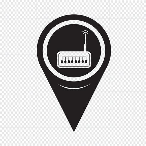 Kaart Pointer router pictogram vector