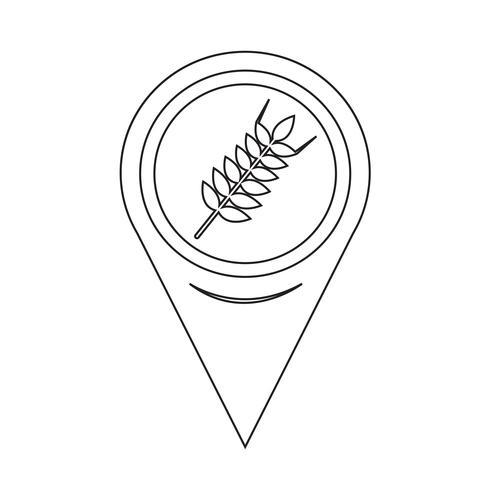 Kaart aanwijzer tarwe oor pictogram vector