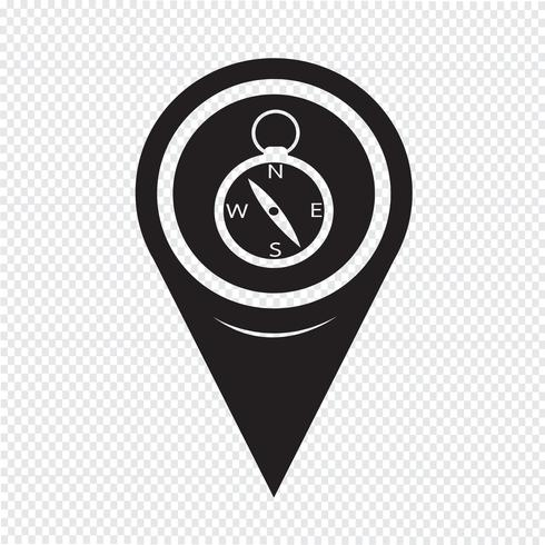 Kaart aanwijzer kompaspictogram vector