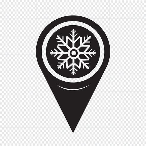 Kaart aanwijzer sneeuwvlok pictogram vector
