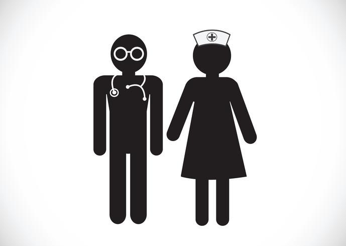 Verpleegkundigen en arts pictogrammen vector