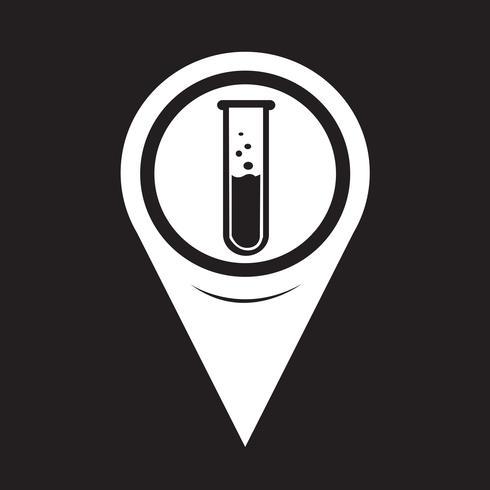Kaart aanwijzer Lab buis pictogram vector