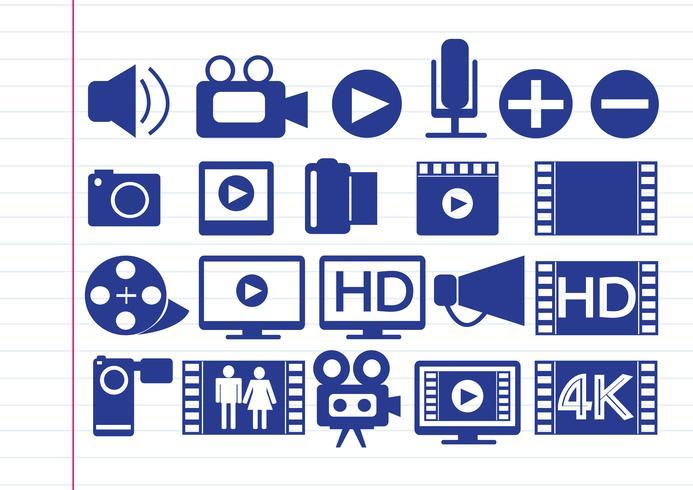 Videofilm Multimedia pictogrammen vector