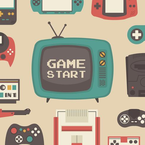 retro game speler set vector