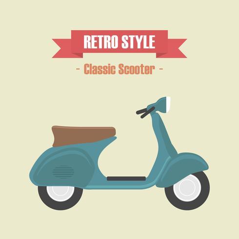 vintage blauwe scooter vector