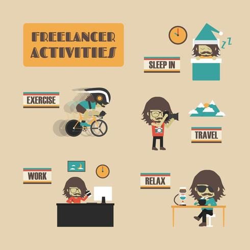 freelancer activiteiten pictogram vector