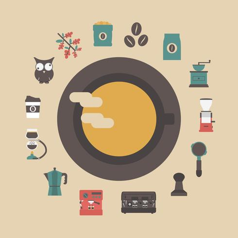 retro koffie pictogram vector