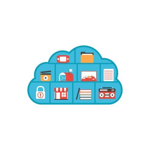 geïsoleerde cloud multimedia vector