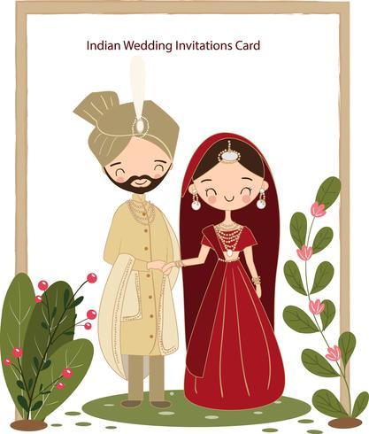 schattige Indiase bruid en bruidegom in traditionele kleding voor bruiloft uitnodigingen kaart vector