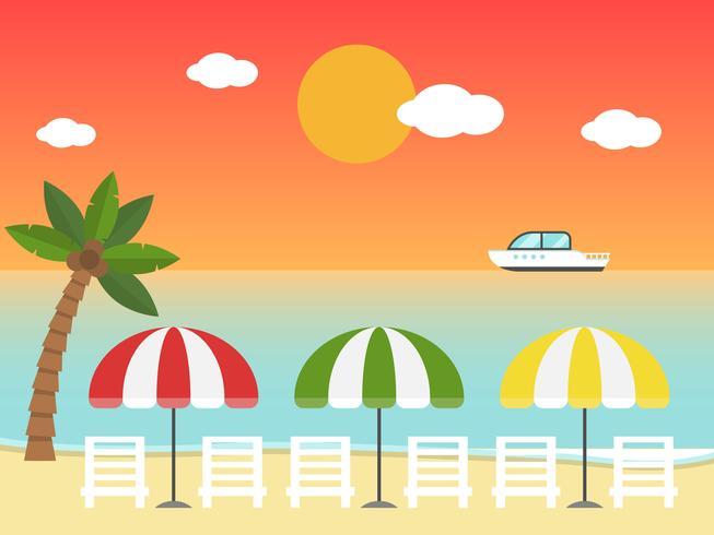 Strandstoelen en parasols op het zonsondergangstrand vector