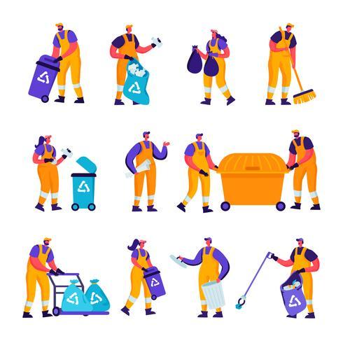 Set van platte afval recycling en metallurgie fabrieksarbeiders tekens. Tekenfilmmensen Ecologie Bescherming en vervuiling Industrie Werknemers, lasser, aaseters verzamelen zwerfvuil. Vector illustratie