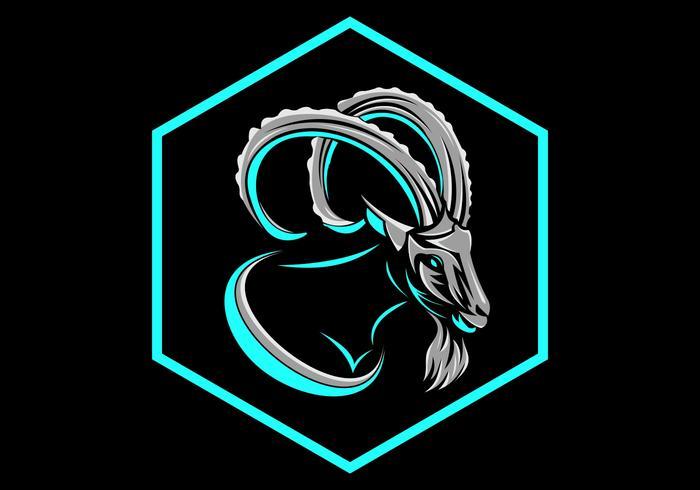 geit zeshoekige badge logo vector