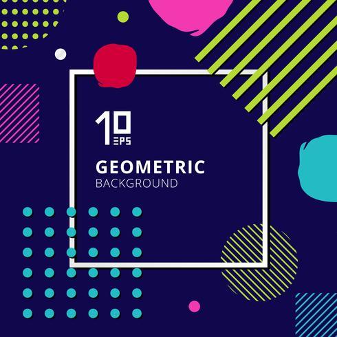 Abstract trendy kleurrijk geometrisch patroonontwerp op blauwe achtergrond. vector