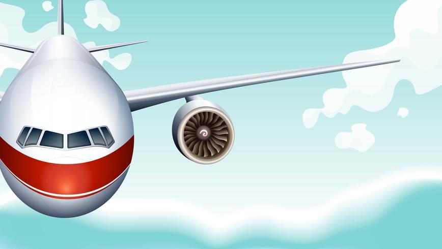 Scène met vliegtuig dat in hemel vliegt vector