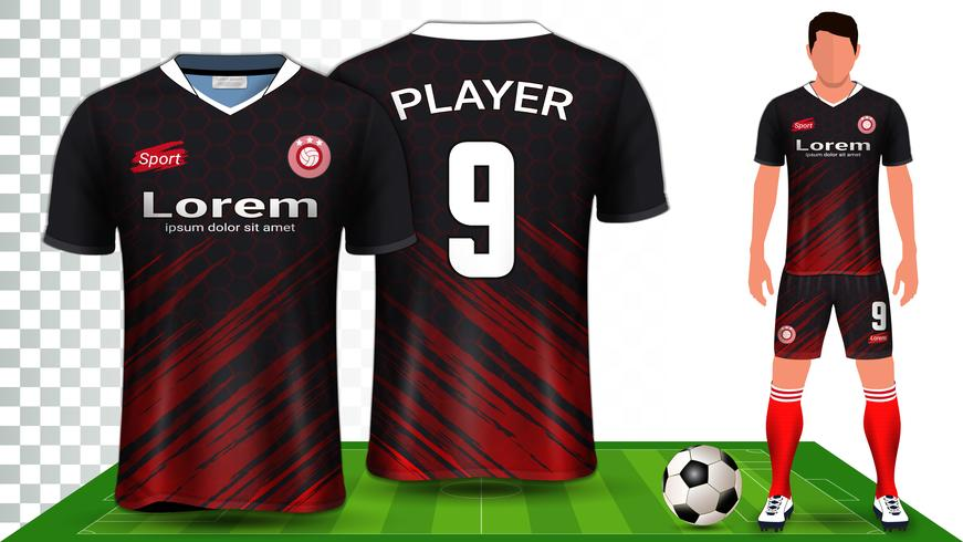 Voetbal shirt, sport shirt of voetbal kit uniforme presentatie mockup sjabloon. vector