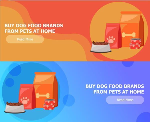 Twee banners voor dierenvoer. Voedsel voor katten en honden. Kom, verpakking, reclame. Platte vectorillustratie vector